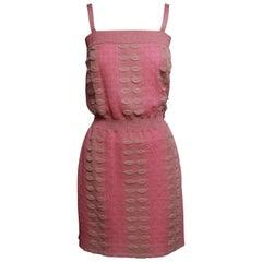 CHANEL 2016 Pink and Metallic Knit Mini Dress