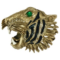 Hattie Carnegie Goldtone Tiger Head Brooch Gucci 1940s