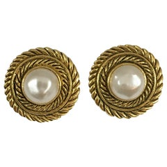 Chanel Pearl and Goldtone Clip-On Earrings in Box 1980s