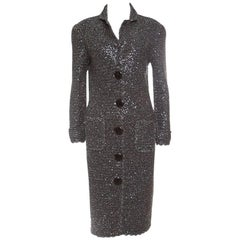D&G Grey Sequined Lurex Knit Long Coat XL