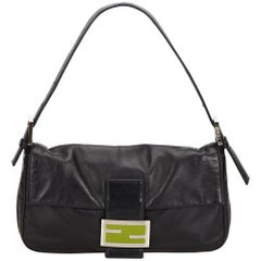 Fendi Black Leather Mamma Baguette