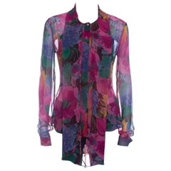 D&G Multicolor Printed Silk Bow Neck Tie Detail Long Sleeve Blouse M
