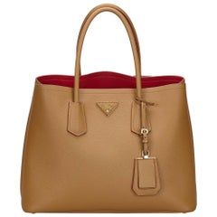 Prada Brown x Beige Saffiano Leather Tote Bag