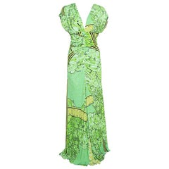 Class by Roberto Cavalli Green Printed Knit Ruched Maxi Dress M