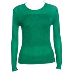 Chloe Emerald Green Tea Cashmere and Silk Textured Sweater S