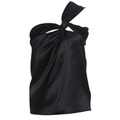 Dior Black Silk Satin Draped One Shoulder Top M