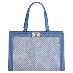 2015 Chanel Blue Chevron Quilted Denim Le Boy Tote