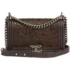 2014 Chanel Brown Embossed Calfskin Leather Paris-Dallas Cordoba Medium Le Boy