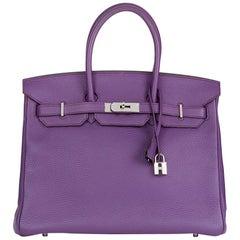 2012 Hermès Ultraviolet Clemence Leather Birkin 35cm