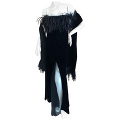 Valentino Vintage Velvet Feather Trimmed Evening Dress w Matching Feather Shawl