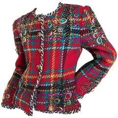 Oscar de la Renta 1984 Museum Exhibited Jewel Embellished Plaid Jacket Size 10