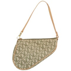 2001 Christian Dior Green Monogram Canvas Saddle Pouch