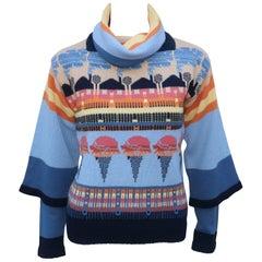 Whimsical 1970's Cowl Neck Ice Cream Sweater Set