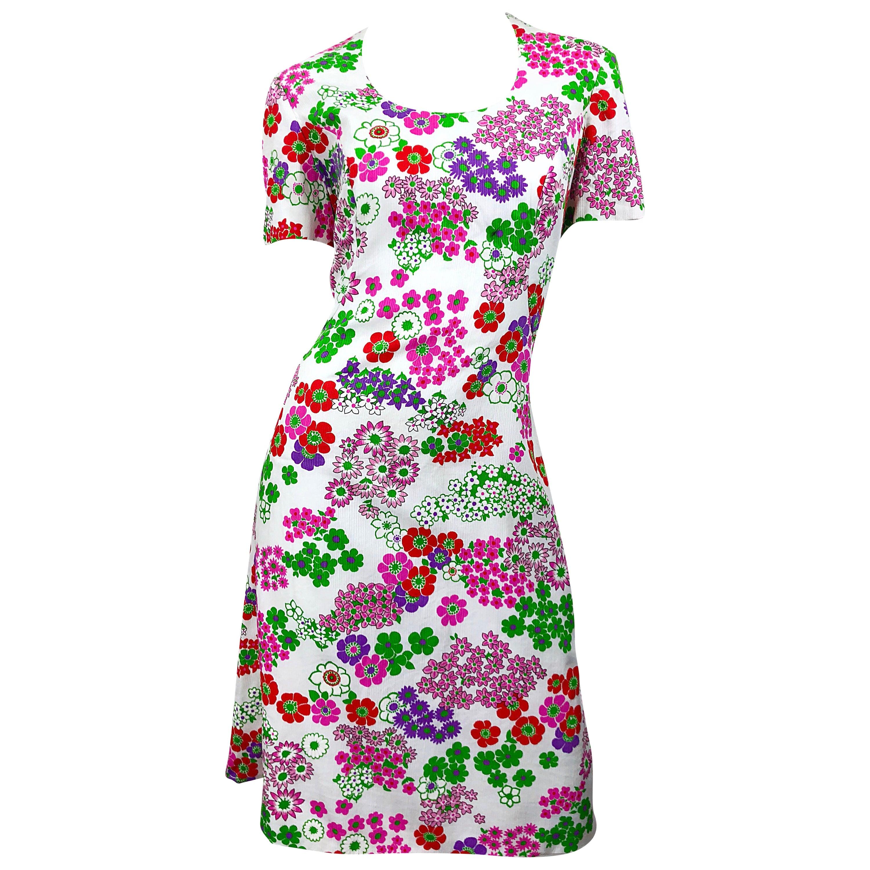 1960s Saks 5th Avenue Silk / Cotton Short Sleeve Vintage 60s A - Line Dress