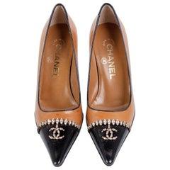 Chanel Dark Beige Black Leather Classic Point Toe Jewlel Pump, 2002