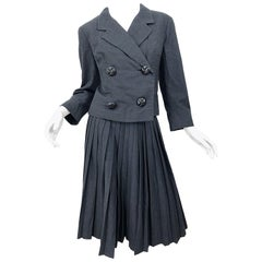1960s Christian Dior Demi Couture Charcoal Grey Classic Vintage 60s Skirt Suit