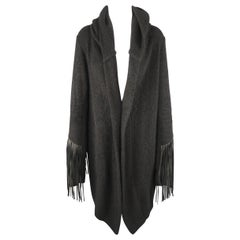 IF SIX WAS NINE Size M Black Fuzzy Knit Hooded Leather Fringe Cardigan