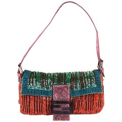 FENDI Multicolored Sequins and Lizard Baguette Bag