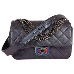 Limited Edition Rare CHANEL Bag in Purple Iridescent Leather