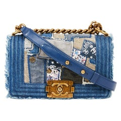 CHANEL Boy Bag in Blue Denim Patchwork