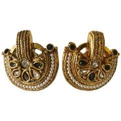 Gold Byzantine Pearl Statement Earrings