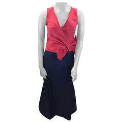 Carolina Herrera Red and Navy Blue Formal Gown