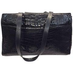 Judith Leiber Black Crocodile Shoulder Bag