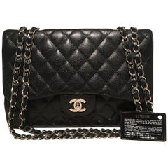 Chanel Black Caviar Jumbo Classic Flap Shoulder Bag