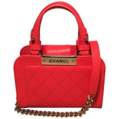 Chanel Red Quilted Leather Mini Shopping Tote Bag