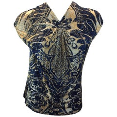 Roberto Cavalli Blue and Gold Print Blouse