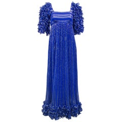 1980's Alfred Bosand Royal Blue and Gold Dynasty Inspired Column Gown