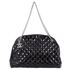 Chanel Just Mademoiselle Handbag Quilted Patent Large