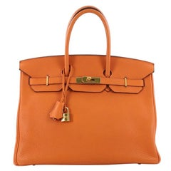 Hermes Birkin Handbag Orange Clemence with Gold Hardware 35