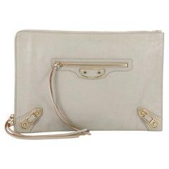 Balenciaga Zip Around Classic Studs Metallic Edge Clutch Leather Medium