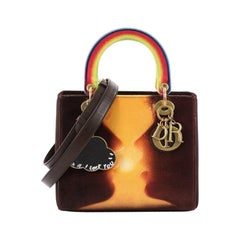 Christian Dior Lady Dior Handbag Limited Edition Printed Velvet Medium