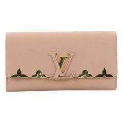 Louis Vuitton Capucines Wallet Metal Floral Edge Taurillon Leather