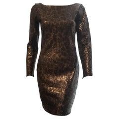 Eyedoll Brown, Black & Copper Tone Sequined Print Long Sleeve Dress