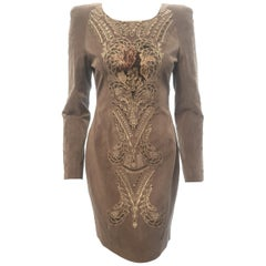 Eyedoll Embroidered Gold, Green and Red Threads Beige Suede Dress