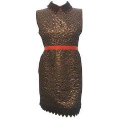 Eyedoll Metallic Brown Brocade Mini High Waisted Dress with Red Grosgrain Ribbon