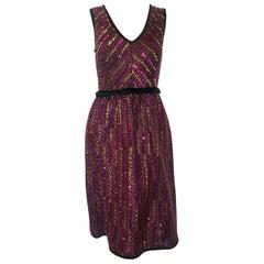 Manoush Multi Color Sequin V Neck Cocktail Dress W/ Black Velvet Sash at Waist