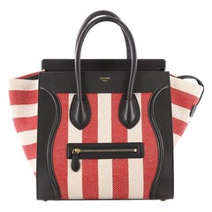 Celine Luggage Handbag Canvas and Leather Mini