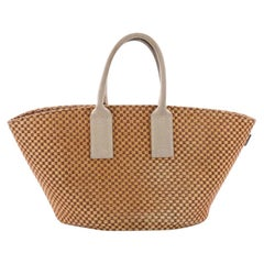 Hermes Basket Weave Tote Woven Jute Small