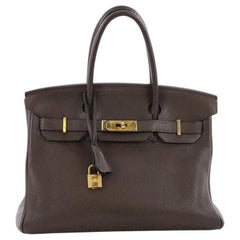 Hermes Birkin Handbag Ebene Clemence with Gold Hardware 30