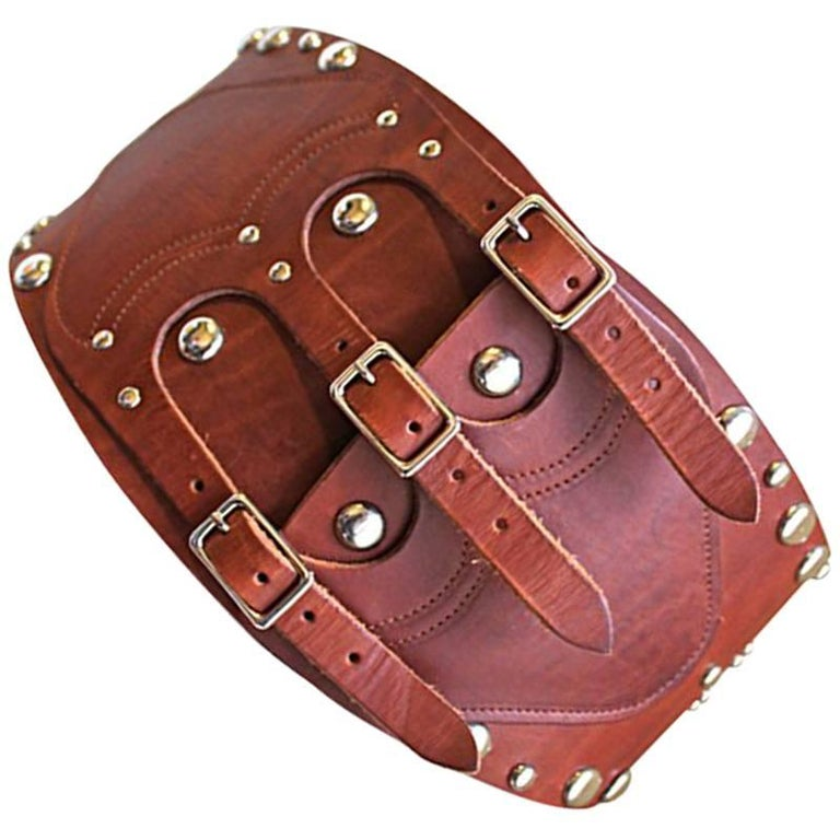 rare 1970's RALPH LAUREN leather corset belt with silver studs