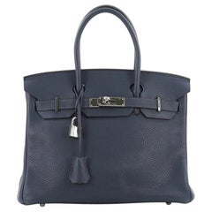 Hermes Birkin Handbag Blue Abysse Clemence with Palladium Hardware 30