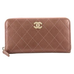 Chanel Zip Around Wallet Quilted Lambskin Long