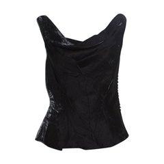 Dior Metallic Black Sleeveless Draped Top S