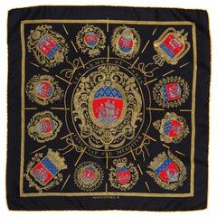 HERMES Black Silk Les Armes de Paris Pocket Square