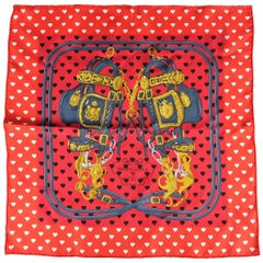 "HERMES Red Heart Print Silk ""Brides de Gala"" Pocket Square Scarf"
