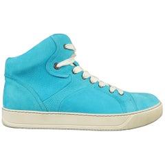 LANVIN Size 10 Aqua Blue Suede High Top Sneakers